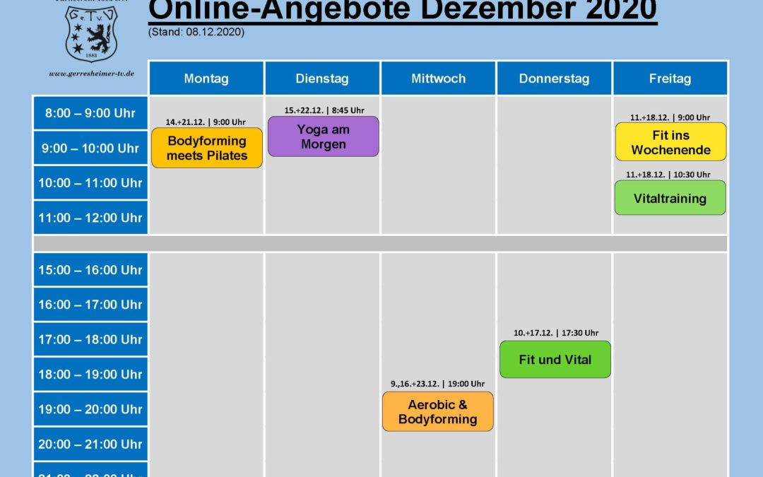 08.12.2020 | Unsere Online-Ange­bote ab 09.12.2020